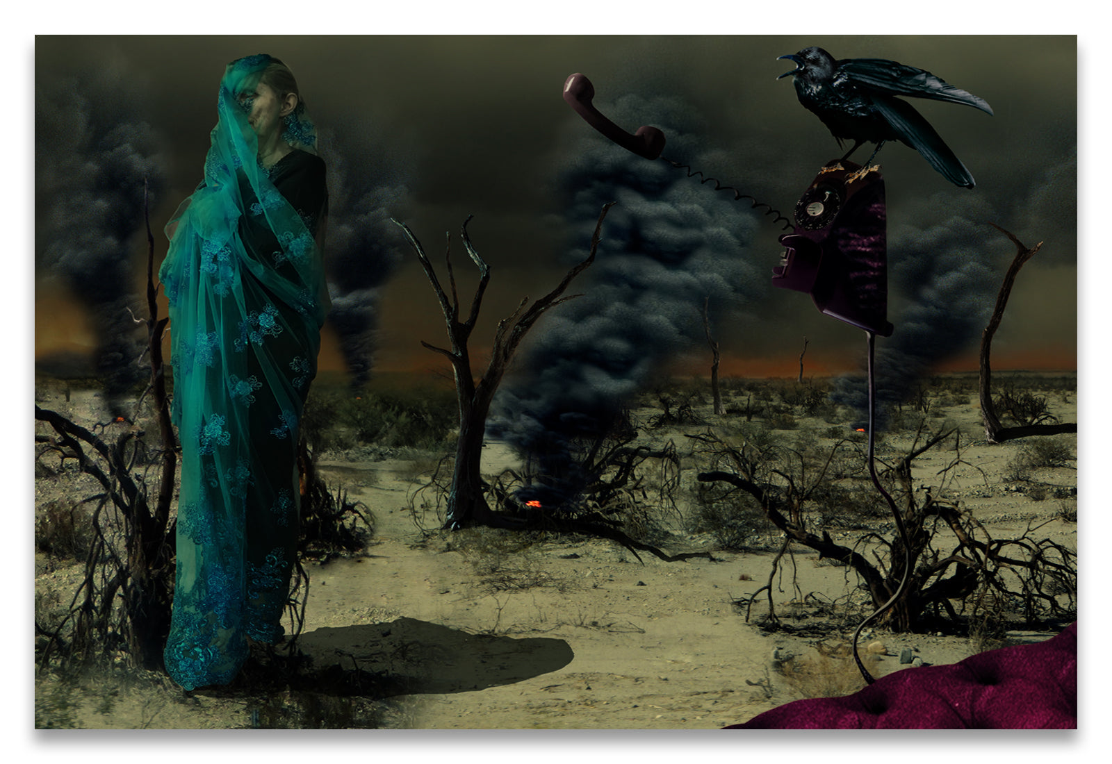 Mother Wrapped in Byzantine Blue Lace Fabric in an Apocalyptic setting with Spot Fires in the Background and a Crow Perched on an Analog, off the hook, Phone-Metal Print-Aluminum Print