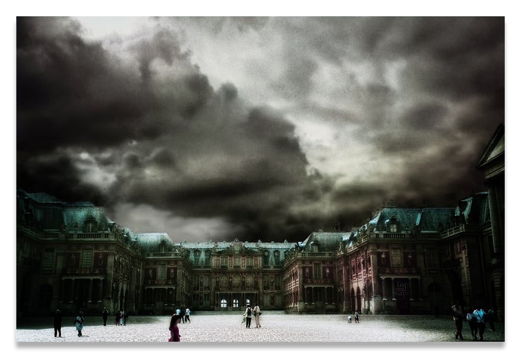 Palace Versailles Surreal Landscape with Sparse Visitors and Billowing Muted Storm Clouds-Metal Print-Aluminum Print