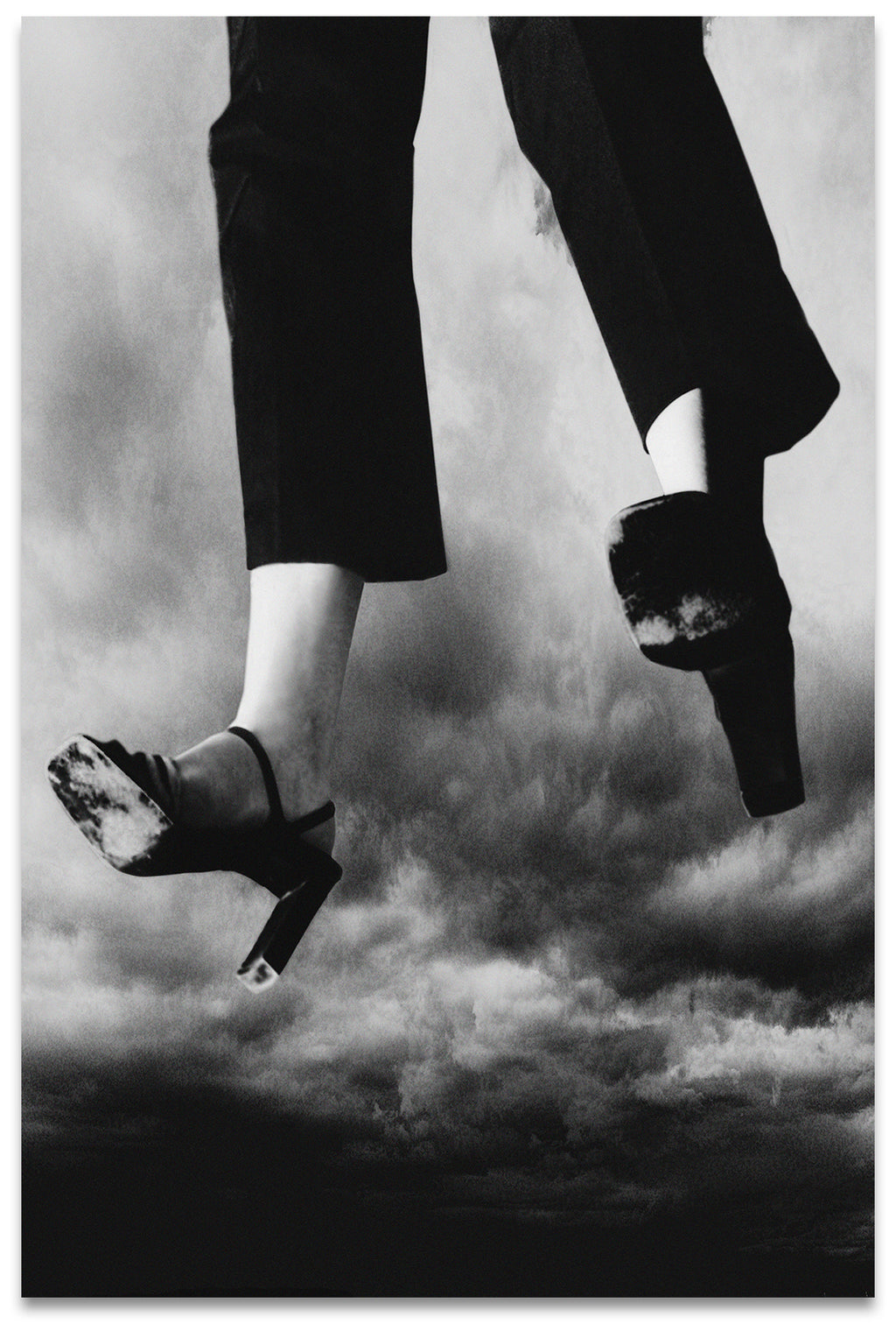 Black & White Portrait of a Woman's Legs Flying Through Stormy Skies- Metal Print-Aluminum Print