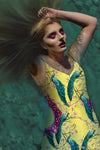 Peacock Ring Master- French Gothic V Neck Slip Dress in Mellow Yellow | Le Leanian™
