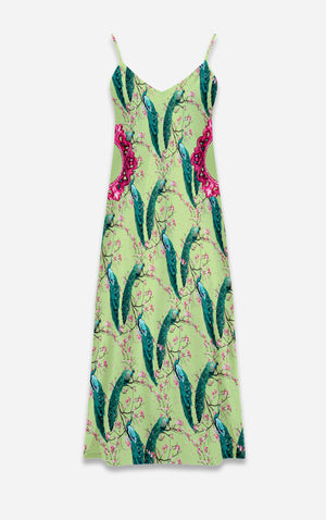 Peacock Ring Master- French Gothic V Neck Slip Dress on Silent Moss Green | Le Leanian™