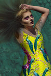 Peacock Ring Master- French Gothic V Neck Slip Dress in Chartreuse Yellow | Le Leanian™