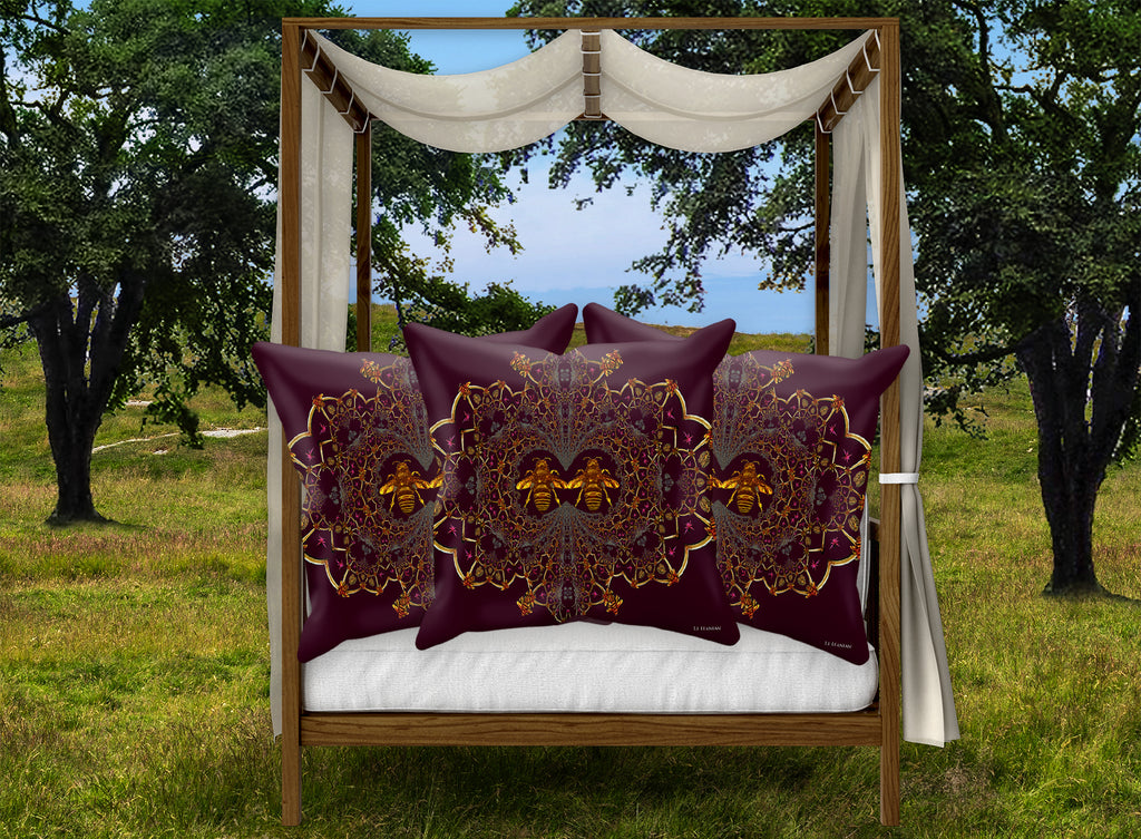 Baroque Honey Bee Pillowcase- Eggplant Wine Red Purple