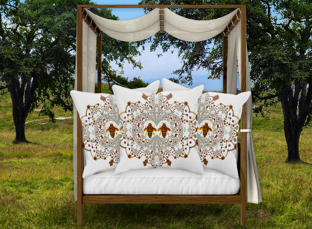 Pillow Case-FRENCH COUNTRY CHIC-Baroque Honey BEE PATTERN- Color White