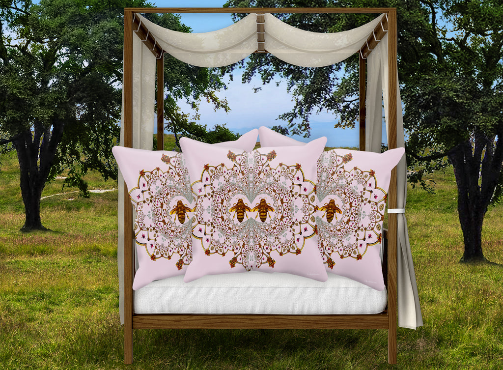 Baroque Honey Bee Pillowcase Set- Blush Lavender Pink