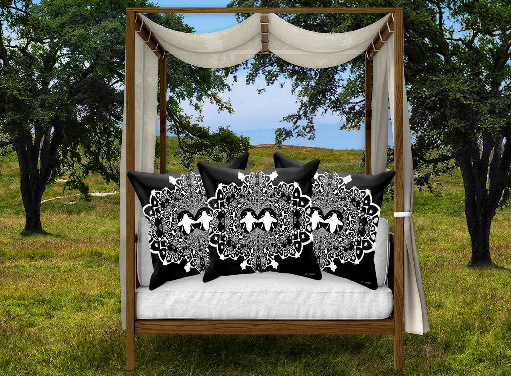Baroque Honey Bee Relief Satin Pillowcase- French Gothic-Black