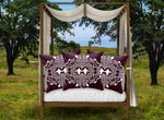 Baroque Honey Bee Relief Satin Pillowcase- Eggplant Wine Red Purple