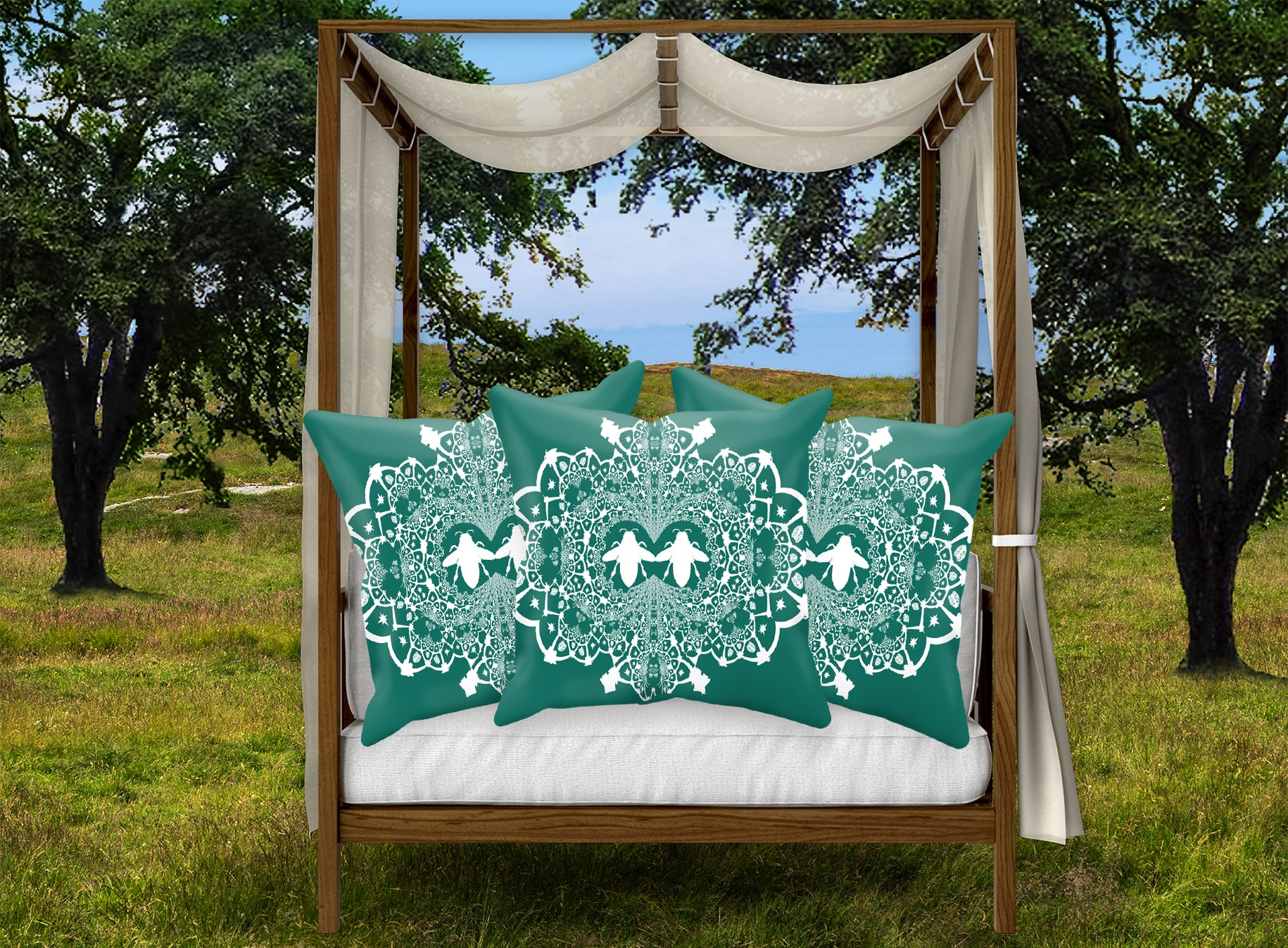 Baroque Honey Bee Relief Satin Pillowcase- French Gothic-Jade Blue Green