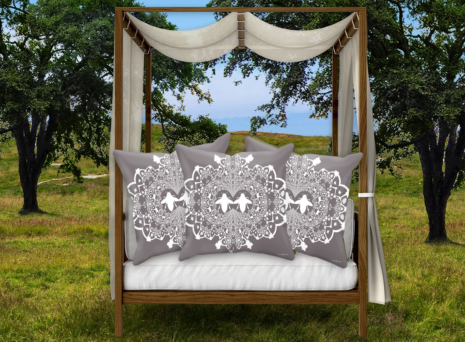 Baroque Honey BEE PATTERN-Pillowcase SET-Color LAVENDER STEEL & WHITE