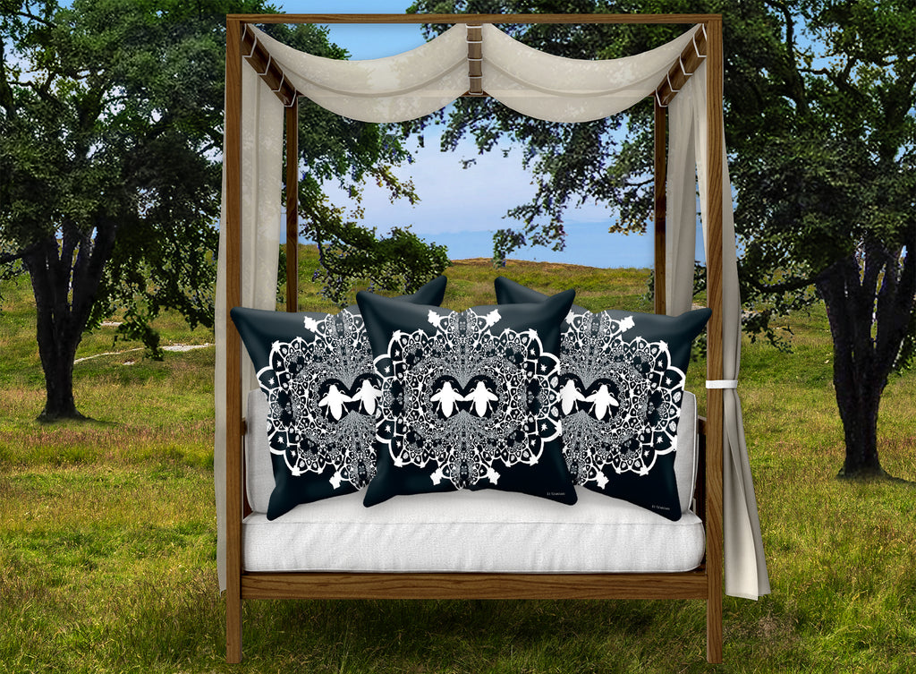 Baroque Honey Bee Relief Satin Pillowcase- French Gothic-Navy Blue