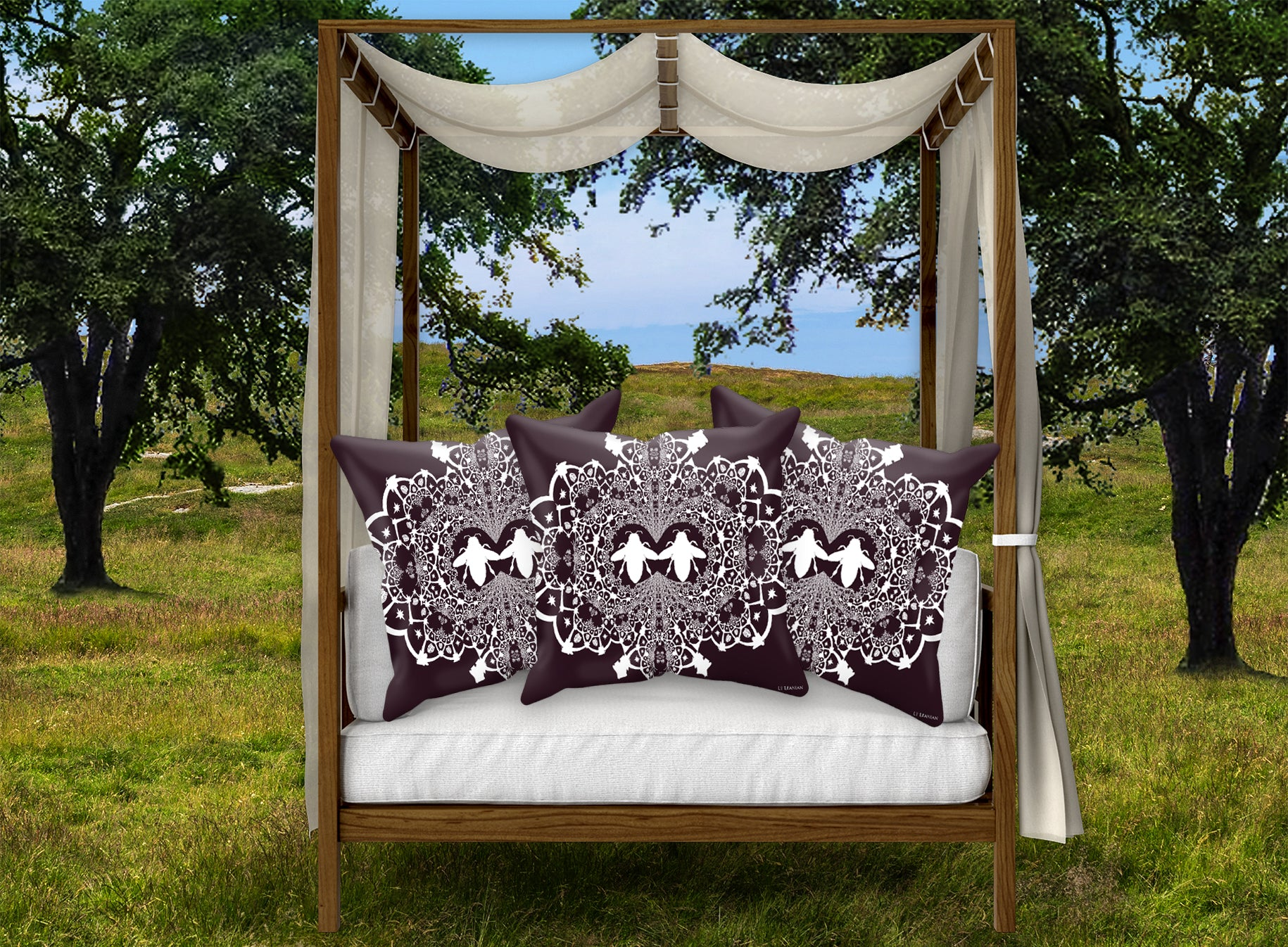 Baroque Honey Bee Relief Satin Pillowcase- French Gothic-Eggplant Wine Red Purple