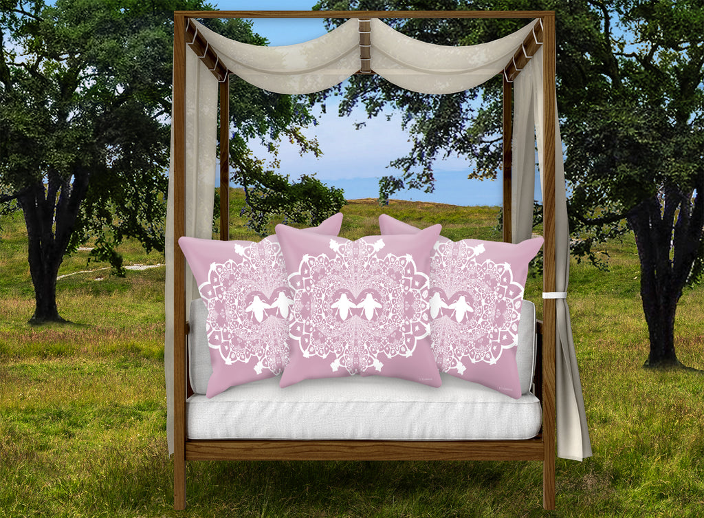 Baroque Honey BEE PATTERN-Pillowcase SET-Color BLUSH PINK & WHITE