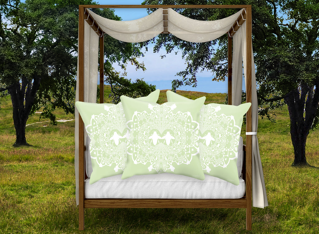 Baroque Honey Bee Relief Satin Pillowcase- French Gothic-Pastel Green