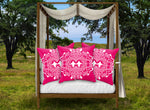 Baroque Honey BEE PATTERN-Pillowcase SET-Color FUCHSIA PINK & WHITE