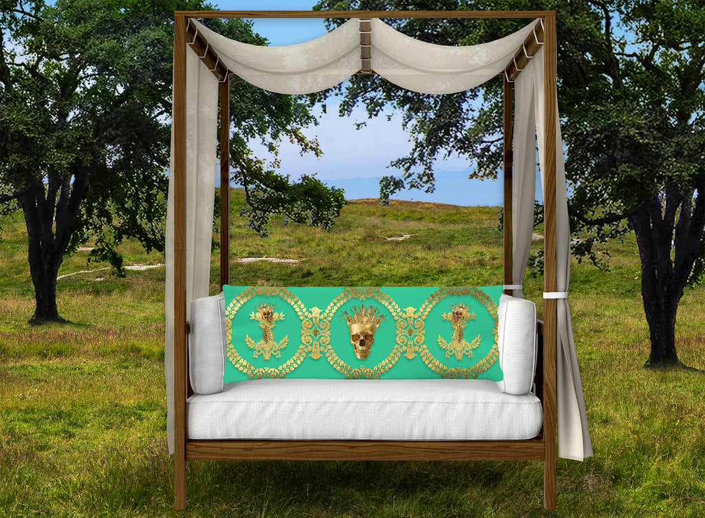 CROWN GOLD SKULL-GOLD RIBS-Body Pillow-PILLOW CASE- color BOLD JADE TEAL, BLUE GREEN, AQUA