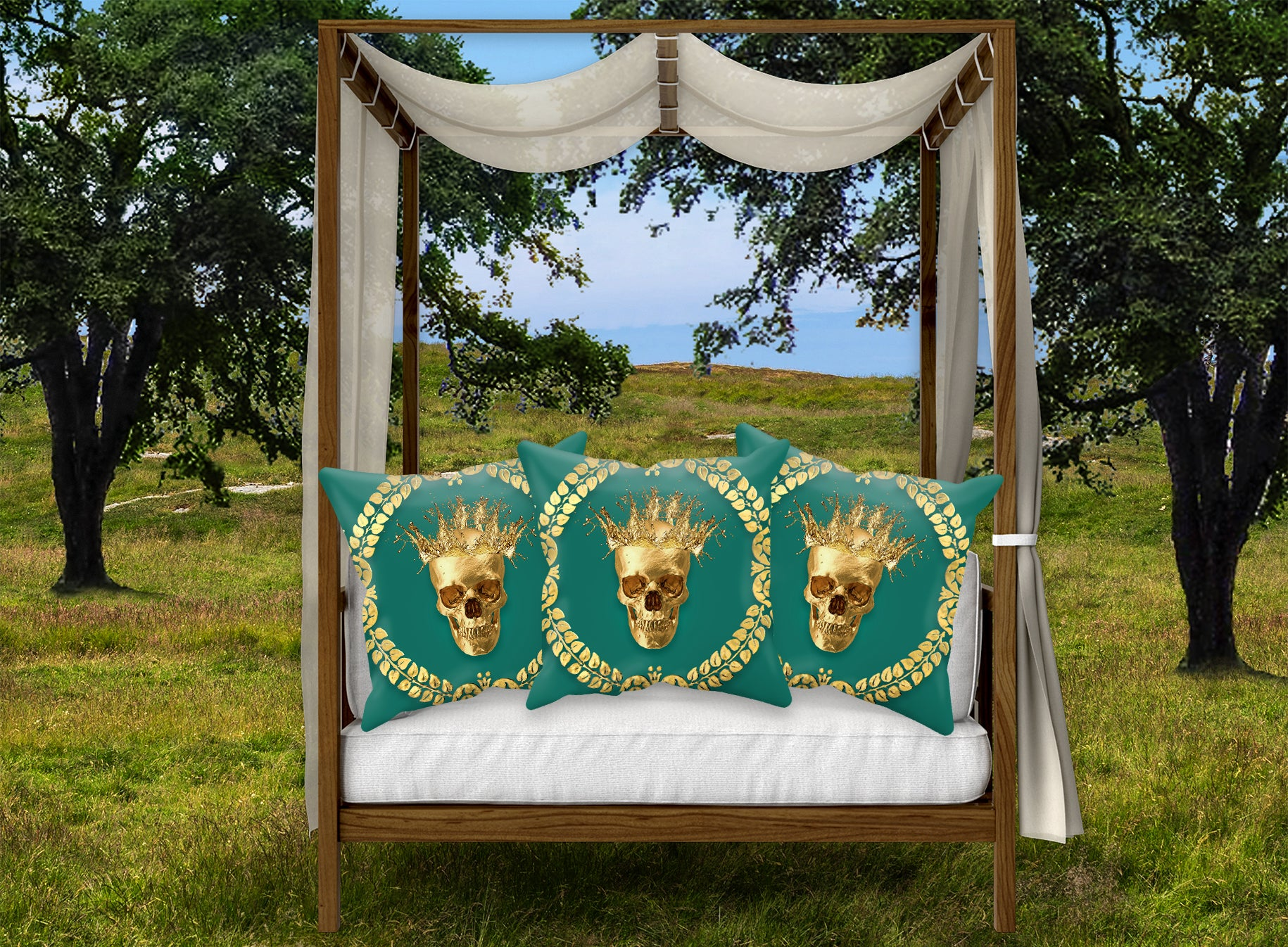 Satin and Suede Pillow Case-Cushion Cover-Gold SKULL-GOLD WREATH- Color JADE TEAL, BLUE GREEN