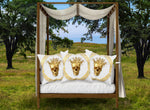 Satin and Suede Pillow Case-Cushion Cover-Gold SKULL-GOLD WREATH- Color Light GRAY
