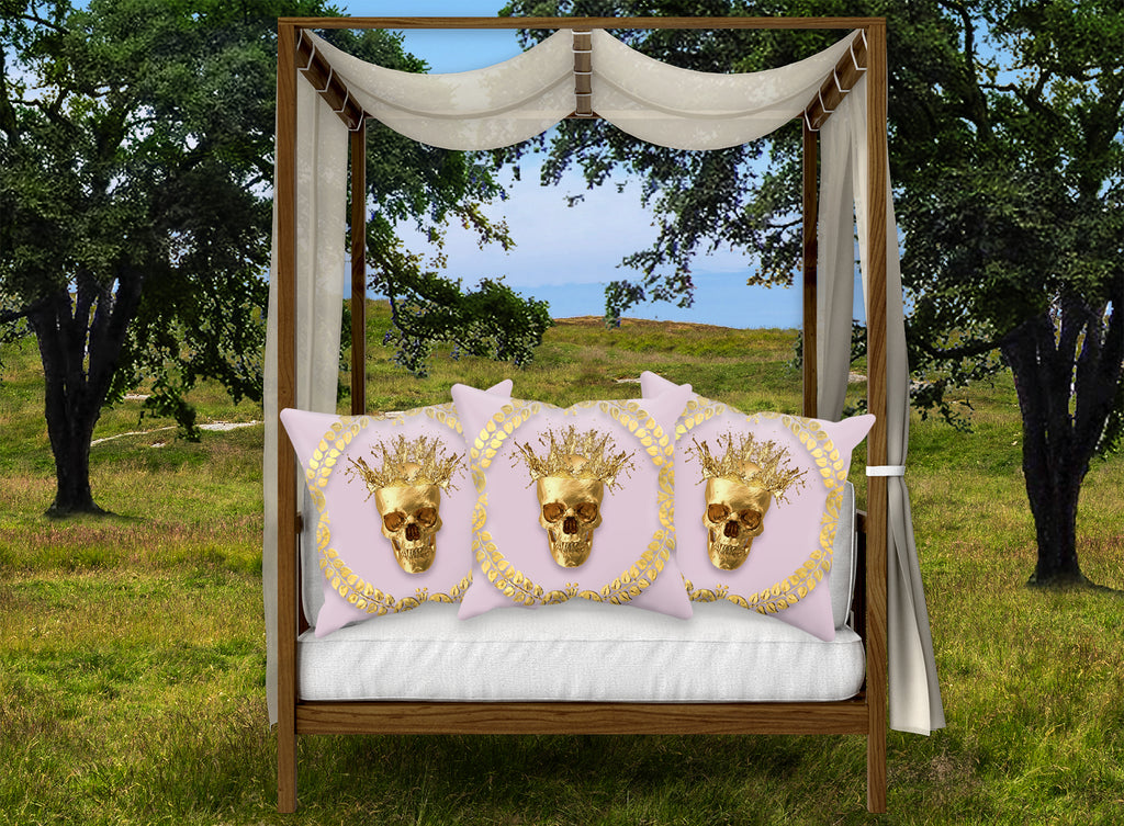 Gold Caesar Skull Pillowcase Set in Lavender Blush Pink