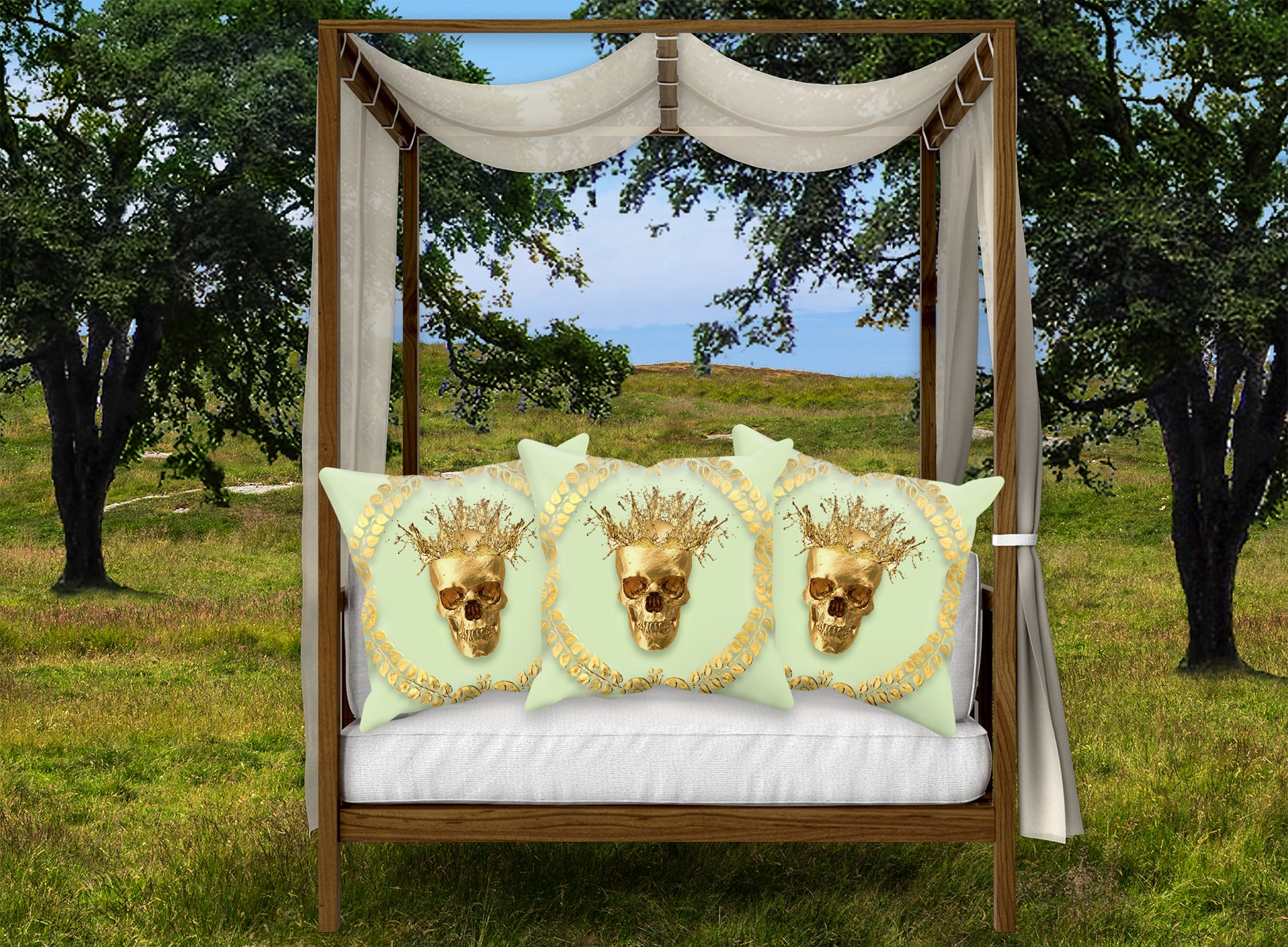 Satin and Suede Pillow Case-Cushion Cover-Gold SKULL-GOLD WREATH- Color PASTEL GREEN