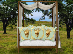 Satin and Suede Pillow Case-Cushion Cover-Gold SKULL-GOLD WREATH- Color PASTEL BLUE