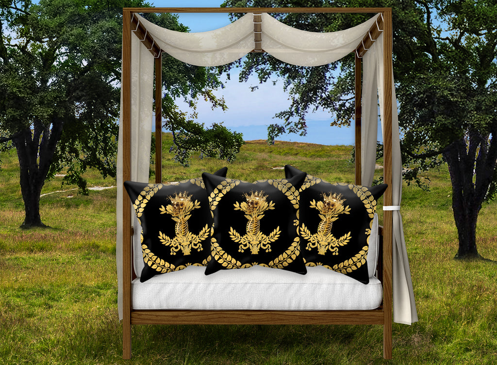 Satin & Suede Pillow Case-Cushion Cover-Gold WREATH-GOLD SKULL- Color BLACK