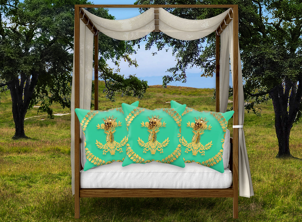 Caesar Skull Relief- French Gothic Satin & Suede Pillowcase in Bold Jade Teal | Le Leanian™