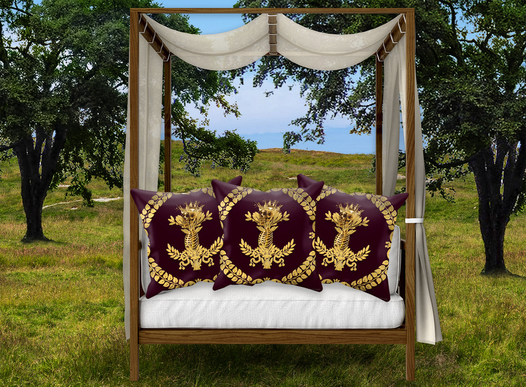 Caesar Skull Relief-Pillowcase Set in Eggplant Wine Red Blood Purple