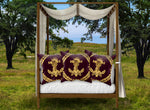 Satin & Suede Pillow Case-Cushion Cover-Gold WREATH-GOLD SKULL- Color EGGPLANT WINE, WINE RED, BURGUNDY, PURPLE