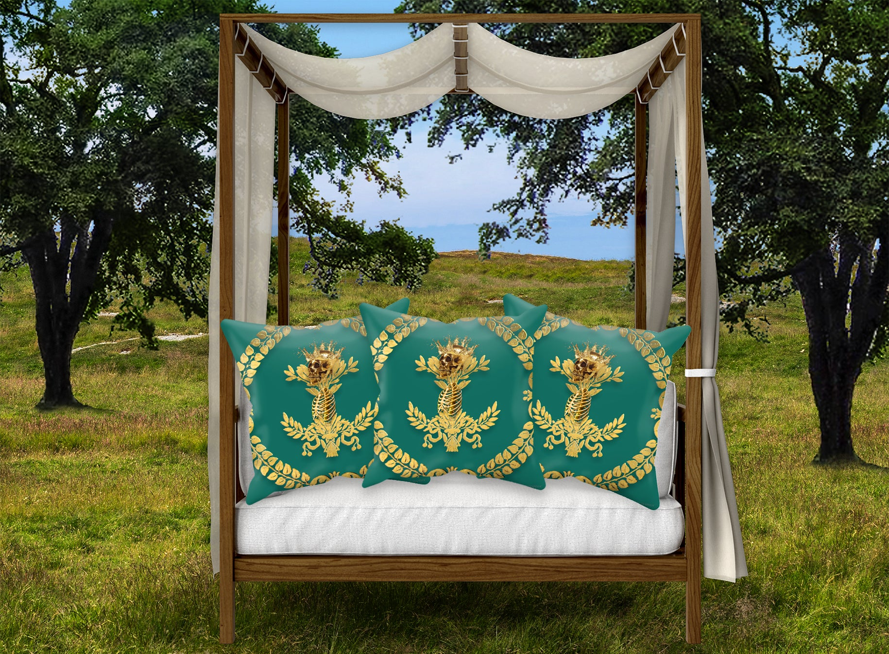 Caesar Skull Relief- French Gothic Satin & Suede Pillowcase in Jade | Le Leanian™