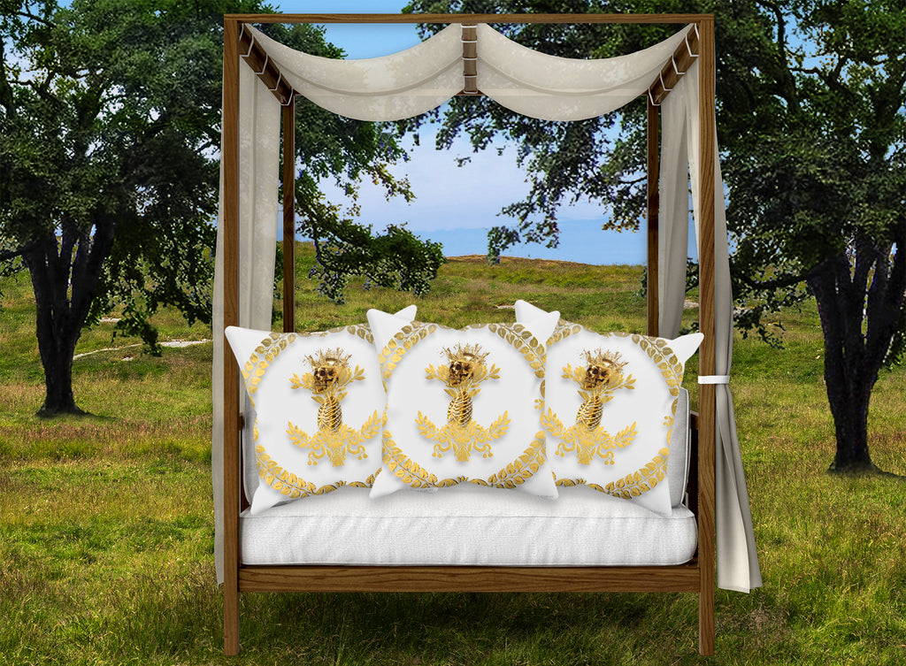 Satin & Suede Pillow Case-Cushion Cover-Gold WREATH-GOLD SKULL- Color WHITE