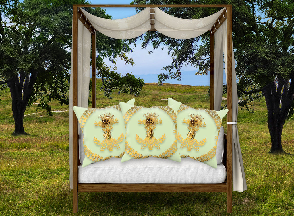 Caesar Skull Relief- French Gothic Satin & Suede Pillowcase in Pale Green | Le Leanian™
