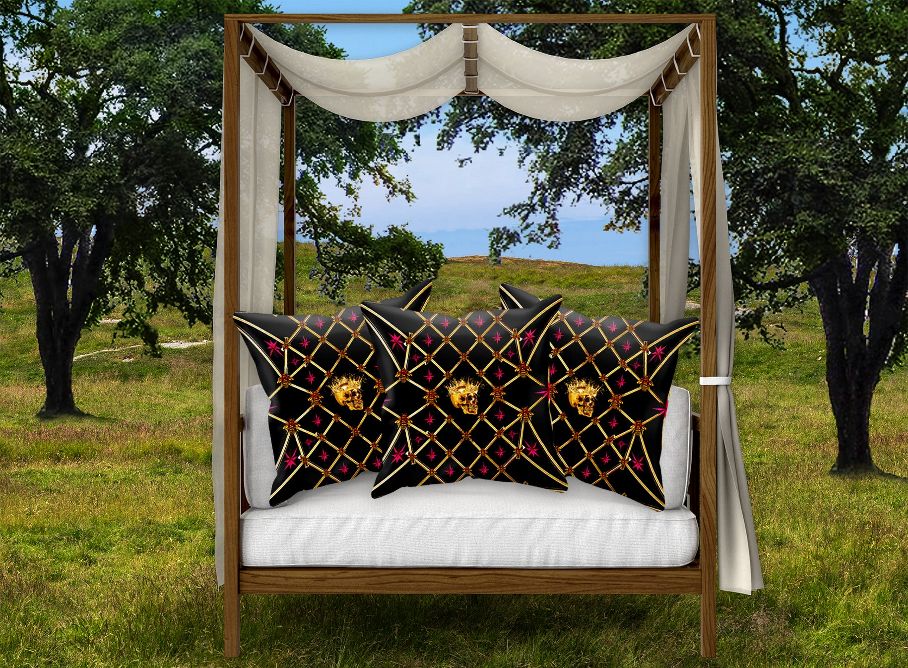 French Gothic-Gold Skull, Honey Bee & Star Pattern Pillowcase Set- BLACK