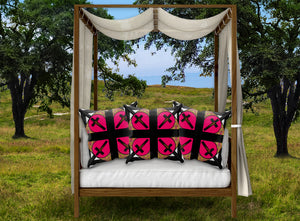 Crossroad Crucifix French Gothic Pillowcase Set- BOLD FUCHSIA PINK