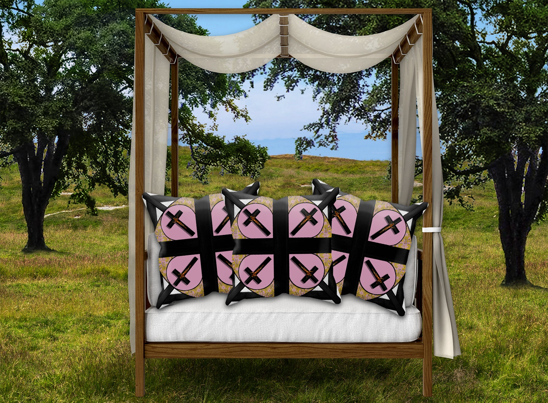 Crossroad Crucifix- Sets & Singles Pillowcase in Nouveau Blush Taupe | Le Leanian™