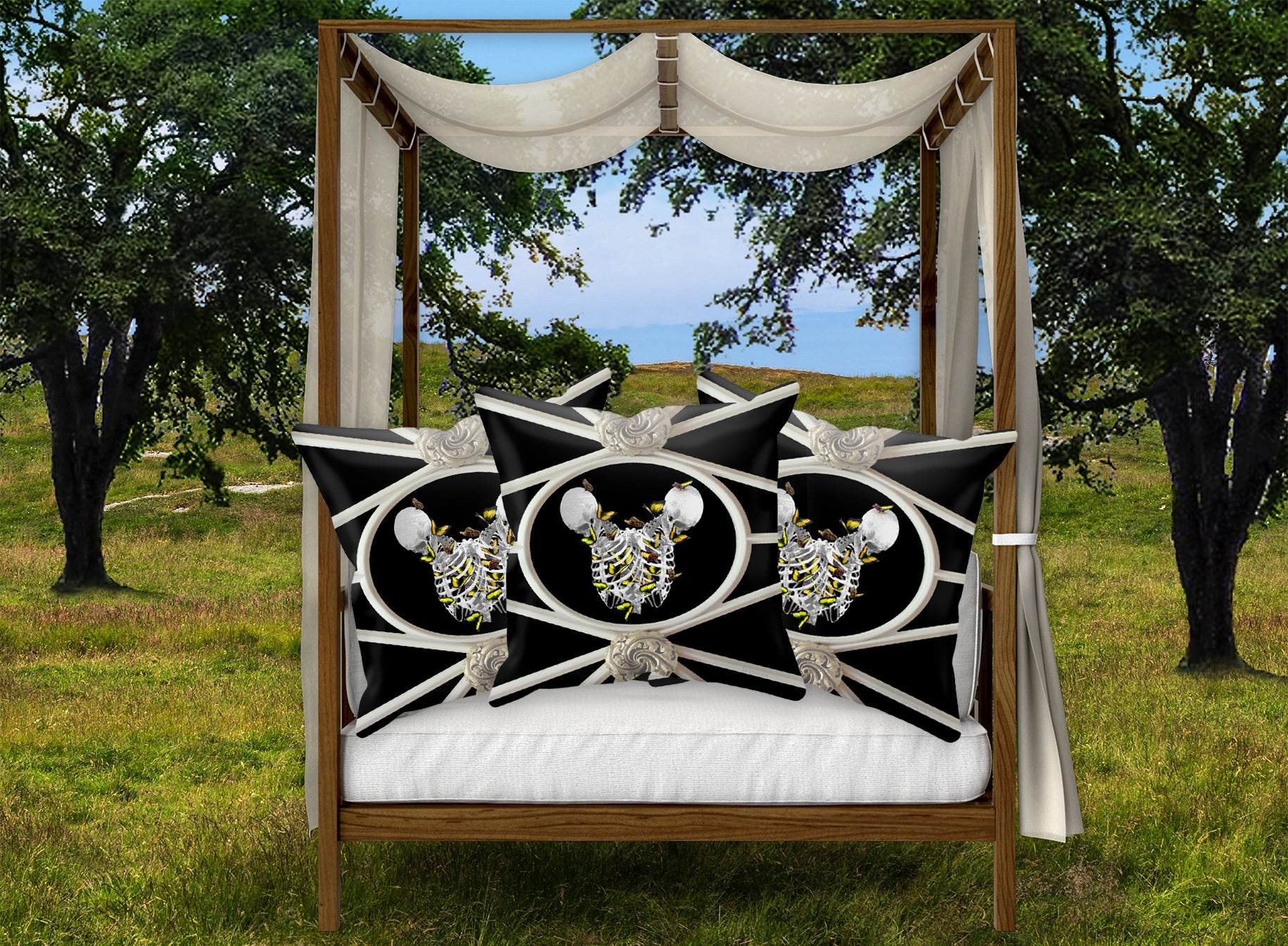 Versailles Divergence Skull Golden Whispers- French Gothic Satin & Suede Pillowcase in Back to Black | Le Leanian™
