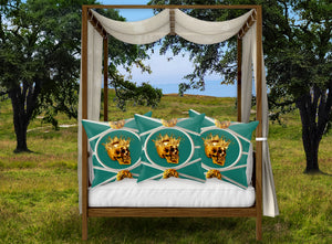 Versailles Golden Skull & Crown Pillowcase- in Jade Blue Green