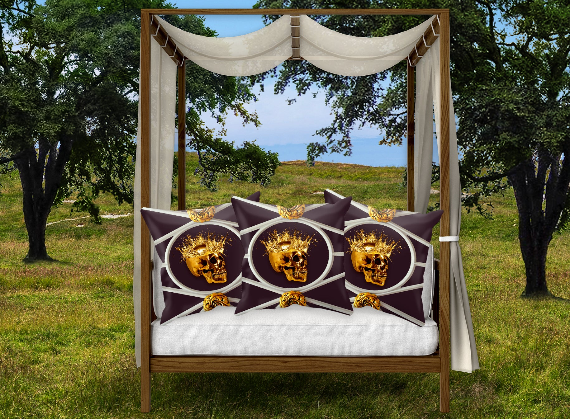 Golden Skull French Gothic Chic- Satin and Sued Pillowcase- EGGPLANT WINE RED PURPLE