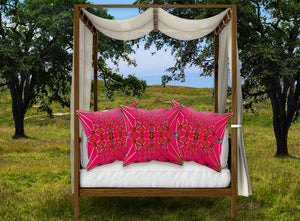 Bee Divergence Gilded Ribs & Jade Stars- French Gothic Satin & Suede Pillowcase in Bold Fuchsia | Le Leanian™