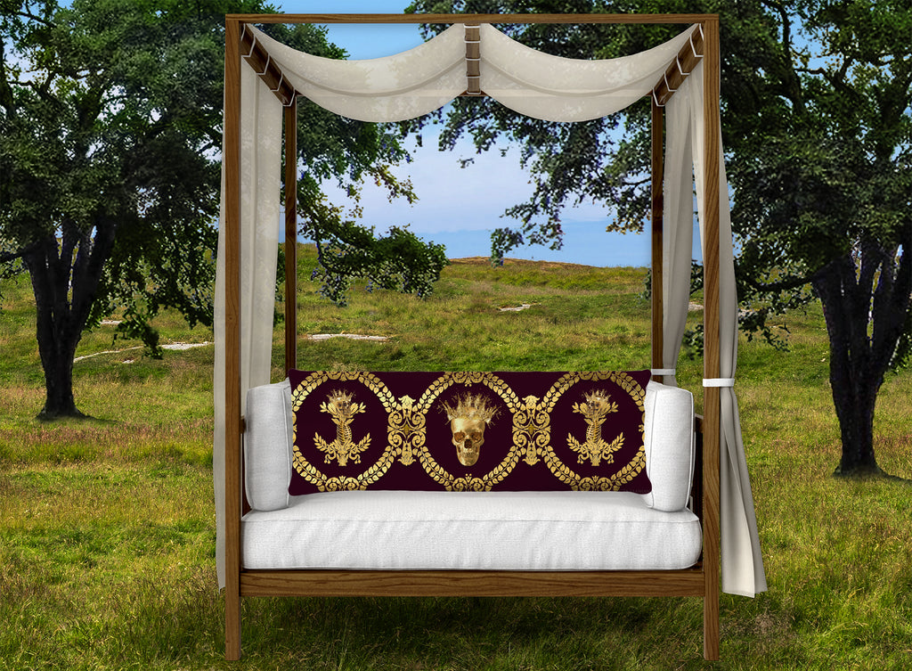 CROWN GOLD SKULL-GOLD RIBS-Body Pillow-PILLOW CASE- color EGGPLANT WINE, WINE RED, BURGUNDY, MAROON, BLOOD PURPLE