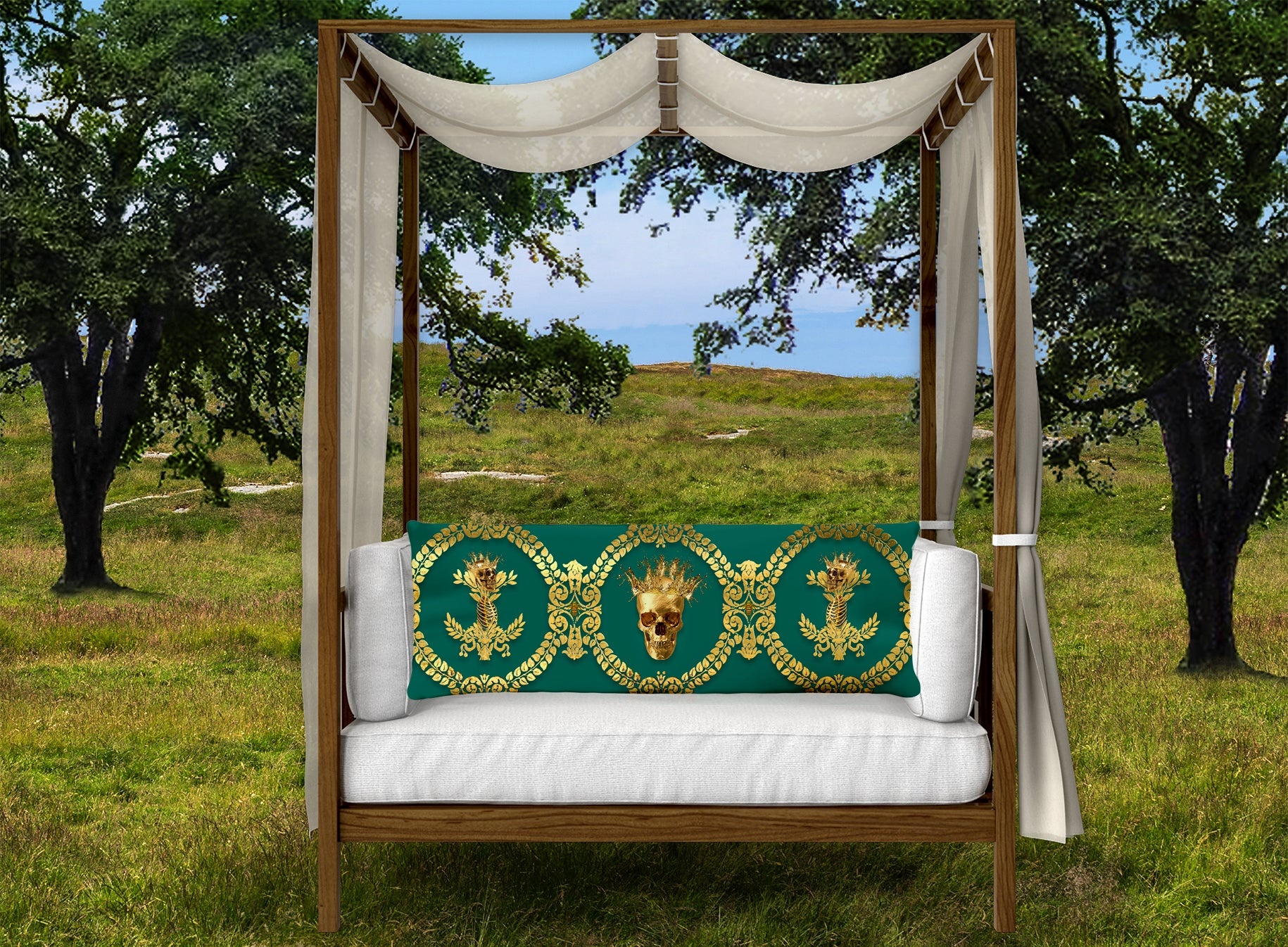CROWN GOLD SKULL-GOLD RIBS-Body Pillow-PILLOW CASE- color JADE, GREEN, BLUE GREEN