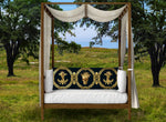 CROWN GOLD SKULL-GOLD RIBS-Body Pillow-PILLOW CASE- color NAVY BLUE