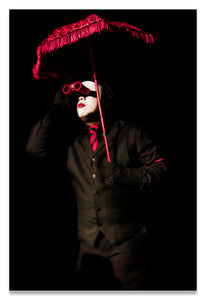 Cirque-Circus Clown in a Black Tux with Crimson Red Accessories-Red Binoculars- Metal Print-Aluminum Print
