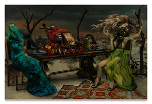 Two Women in Purgatory at The Last Supper-Metal Print- Aluminum Print