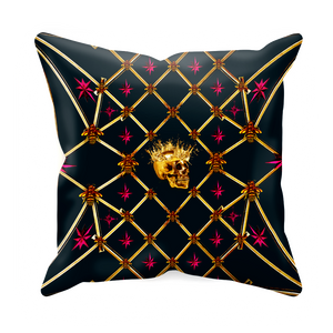 Golden Skull & Magenta Stars- Sets & Singles Pillowcase in Midnight Teal | Le Leanian™