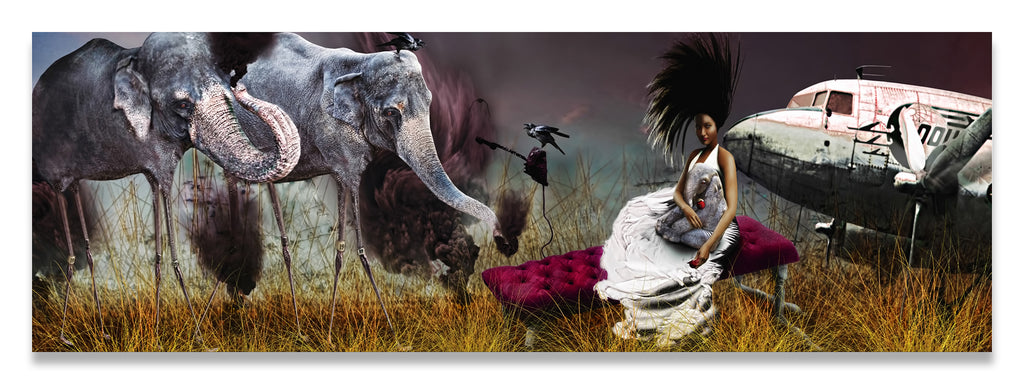 Dali Tall Smoking Elephants;woman on Chaise Lounge next to a Crow & Airplane- Metal Print-Aluminum Print