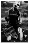 Black & White Portrait on a woman on her knees at the beach with a Neck Corset and small Black Hot Air Balloons- Fine Art Canvas Print
