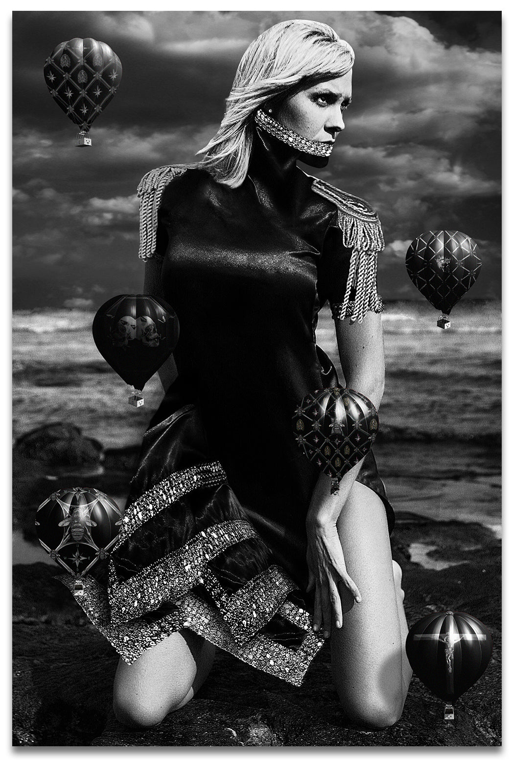 Black & White Portrait on a woman on her knees at the beach with a Neck Corset and small Black Hot Air Balloons-Metal Print-Aluminum Print