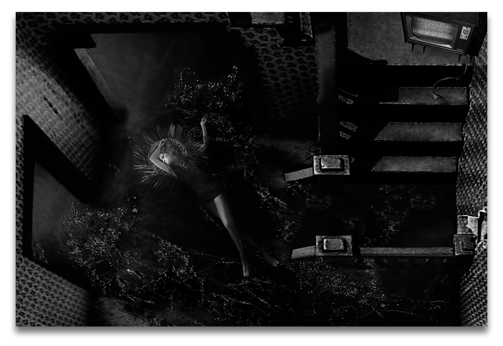 Horizontal Black & White Portrait of a Woman Being Baptized in the Whole First Floor of a House-Metal Print-Aluminum Print