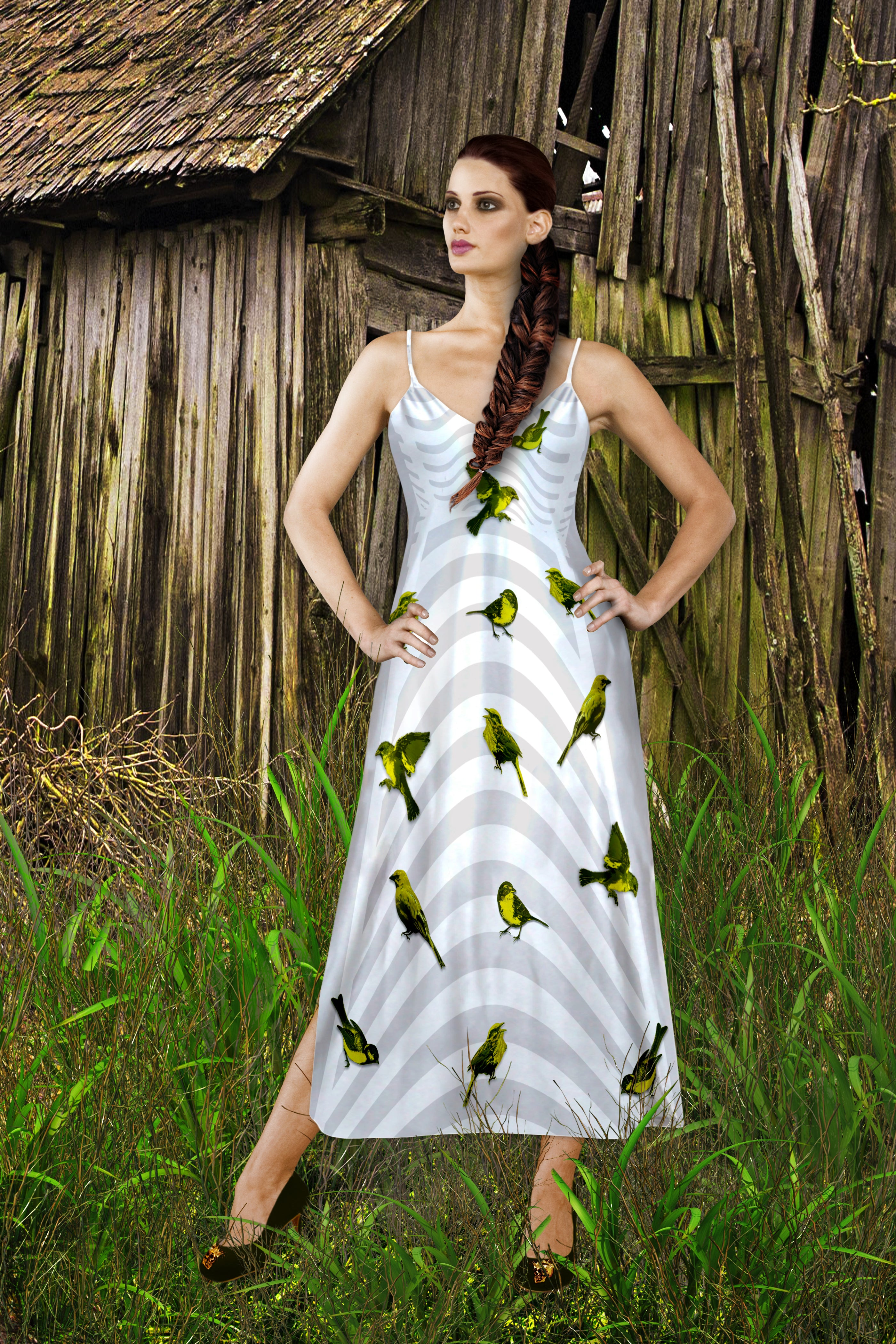 V Neck Slip Dress in Gray Birdcage Pattern with Green Sparrows- White