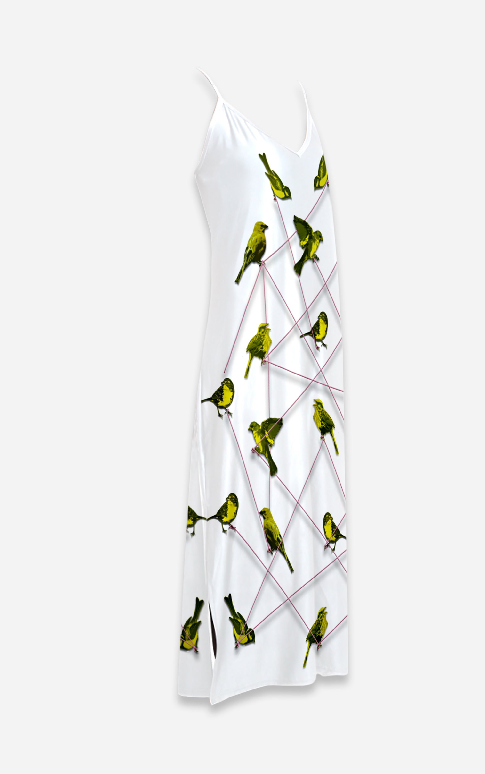 Make Me A Bird- French Gothic V Neck Slip Dress in White | Le Leanian™